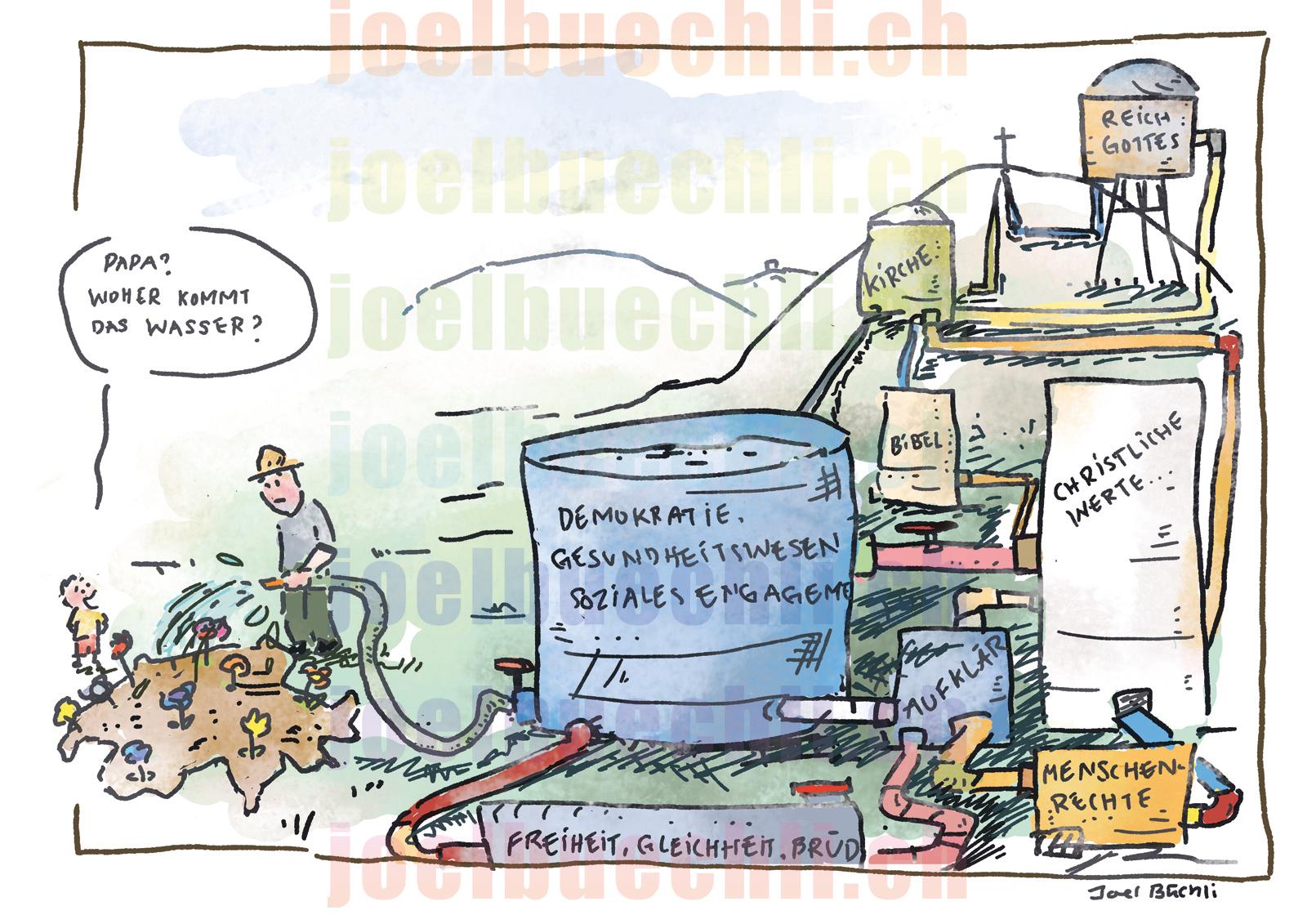 Cartoon Bluhende Schweiz Idea Spektrum Joel Buchli